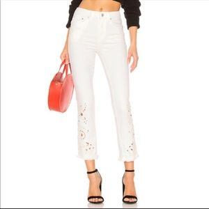 Free People crop jeans high waist with embroidery